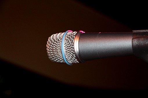 Microphone, Dark Background, Music, Gig, Sound, Show