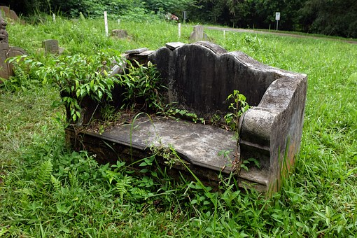 Old Stone Bench, Abandoned Cemetery, Double Tomb