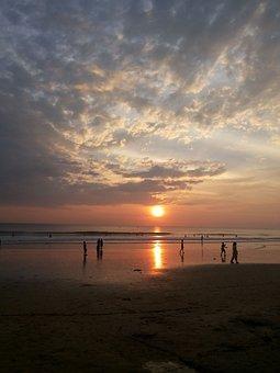 Sunset, Sunset On Beach, People On The Beach