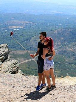 Couple, Selfie, In Love, Promenade, Mountain, Camera