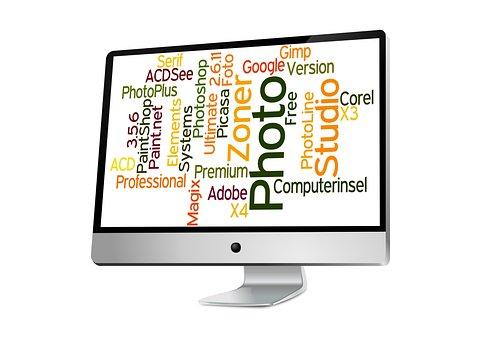 Monitor, Words, Screen, Image Editing