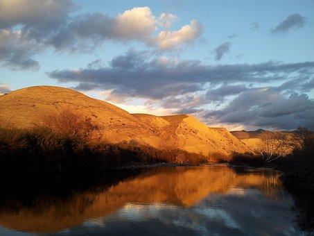 Sun, Setting, Mountain, Water, River, Calm, Outdoors