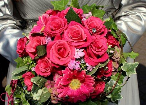Flowers, Bouquet, Shooting Club, Düsseldorf, Queen, Red