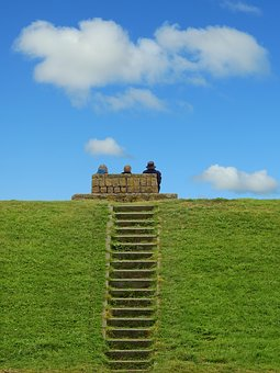 Stairs, Grass, Clouds, Dike, Viewpoint, Nature