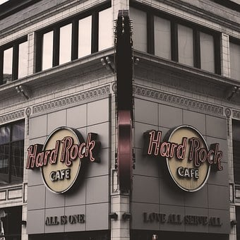 Hard Rock Cafe, Cafe, Shop, Store, Music, Desaturated