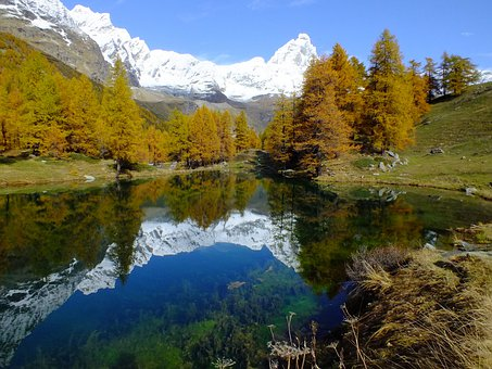 Lago Bleu, Valle D'aosta, Aosta Valley, Lake, Mirror