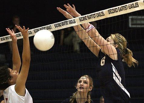Volleyball, Blocked Shot, Net, Girls, Action, Block