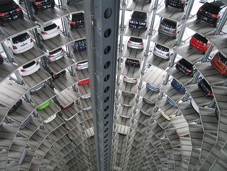 Autos, Technology, Vw, Multi Storey Car Park, Warehouse