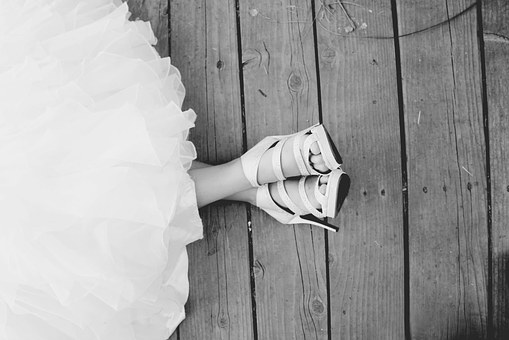 Shoes, Wedding Dress, White, Black, Wedding, Bride