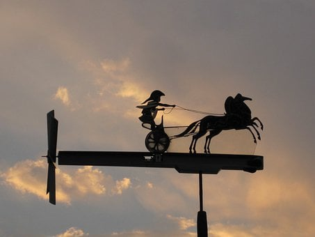 Whirly-gig, Weather Vane, Spartan And Chariot, Handwork