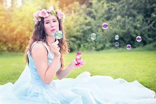 Woman, Blowing Bubbles, Young, Sitting, Beauty, Summer