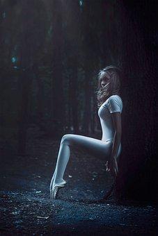 Ballerina In The Forest, Girl, Forest, Posing, Stroll