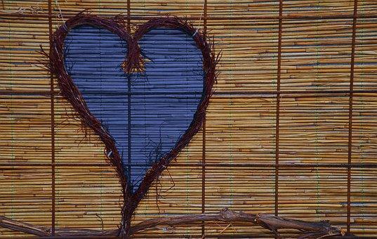 Rattan, Bamboo, Heart, Purple, Lilac, Blue, Decorative