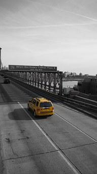 Taxi, Bridge, Road, Black And White, City, Sky, Car