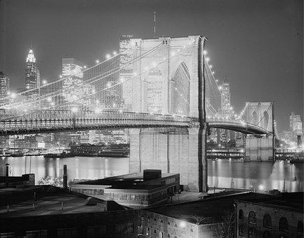 Brooklyn Bridge, 1982, New York City, Night, Evening