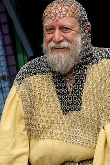 Old Man, Beard, Chain Mail, Armor, Happy, Gray
