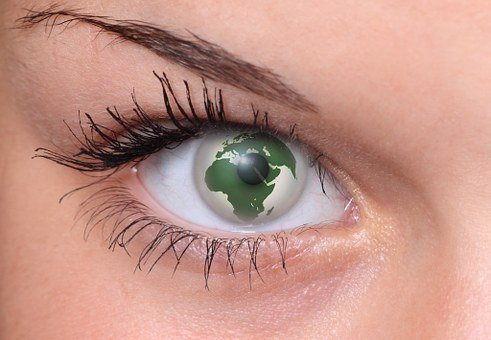 Eye, Pupil, Lid, Eyebrow, World, Earth, Globe, Woman