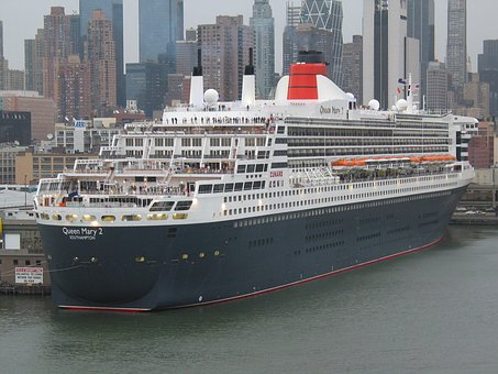 Queen Mary Ii, Ship, New York, Hudson, Manhattan