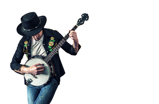 Isolated, Musician, Instrument, Man, Banjo, Artist