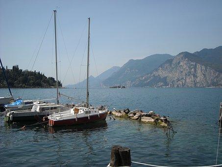 Limone Sul Garda, Lakeside, Sailing Boats, Garda