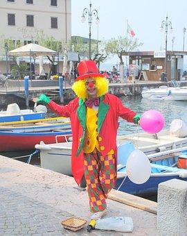 Italy, Garda, Limone, Clown, Port, Limone Sul Garda