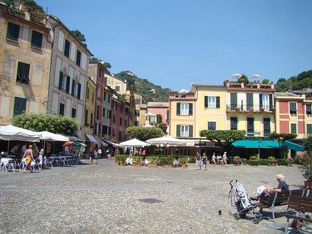 Portofino, Plaza, In, Summer, Market Square, Old Town