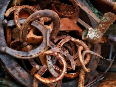 Horse Shoe, Old, Rusty, Lucky, Symbol, Cluster, Metal