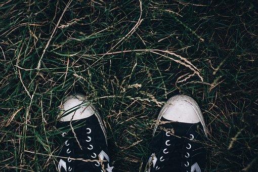 Dirty, Nature, Grass, Outdoors, Footwear, Worn, Pair