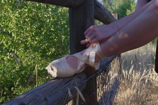 Ballet, Slippers, Tie, Fence, Leg, Grace, Pink, Foot