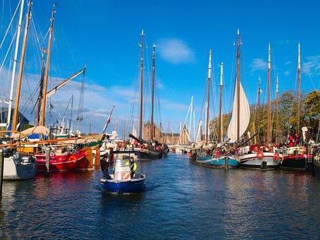 Sailing Boats, Waterway, Police Patrol Boat