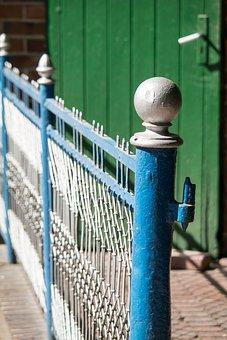 Fence, Knauf, Pile, Post, Fence Post, Door, Blue