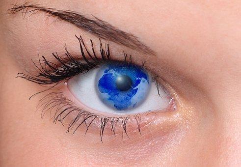 Eye, Woman, Pupil, Lid, Eyebrow, World, Earth, Globe