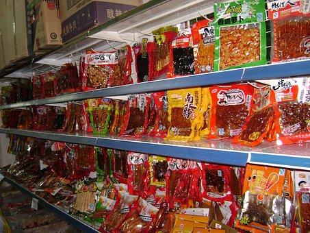Grocery, Shopping, Shelf, Rack, China, Food, Market