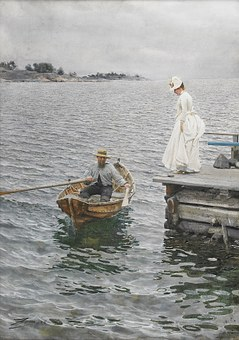 Rowing Boat, Boat, Lady, Painting, Sommarnoeje, 1886