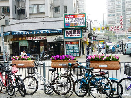 Bicycles, Street, View, Flower, Old, Town, City