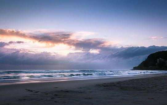Australia, Queensland, Burleigh Heads, Sea, Sky, Beach