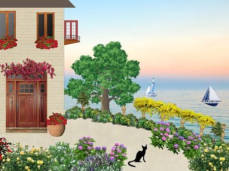 House, Sea, Seaside, Blue, Nature, Black Cat, Trees