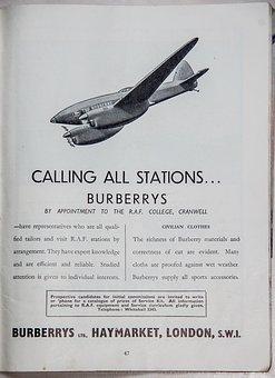 Advert, Burberry, Clothes, Plane, Aeroplane, Historic
