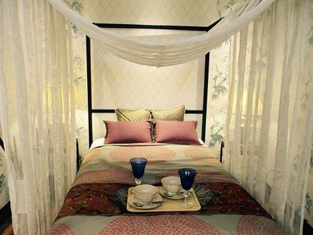 Bed, Double, Bedroom, Sheet, Tea Set, Glass, Couple