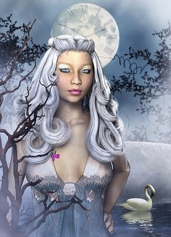 Frost, Woman, Moon, Time, Clock, People, Face, Nature