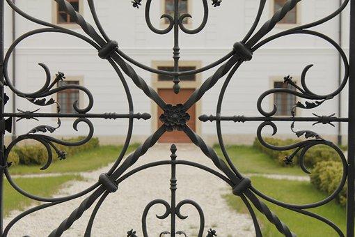 Wrought Iron, Fancy, Gate, Castle, Garden, Door, Majk