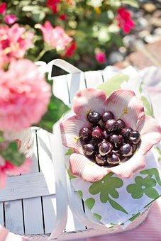 Cherries In Bowl, Cherries, Food, Healthy, Red, Sweet