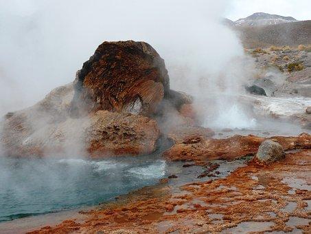 Geyser, Landscape, Unrest, Steam, Sulfur, Geyser Field