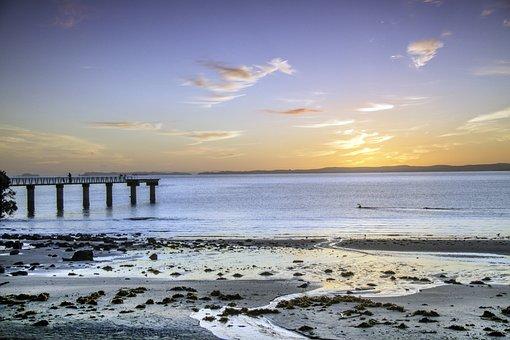 Sun Rise, Beach, New Zealand, Auckland, Murrays Bay