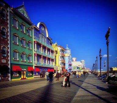 Atlantic City, New Jersey, Boardwalk, Buildings, Shops