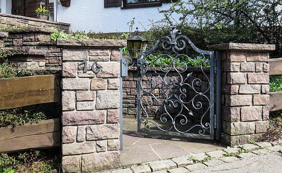 Goal, Garden Gate, Door, Wrought Iron, Antique, Old