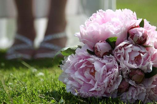 Wedding, Wedding Bouquet, Peony, Close, Romantic, Pink
