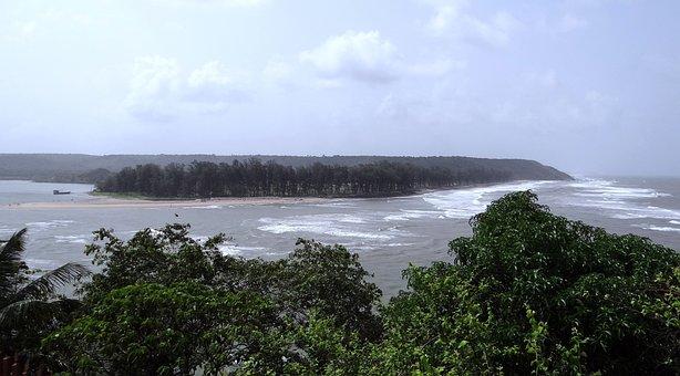 River, Estuary, Terekhol, Sea, Goa, India