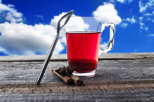 Tea, Cup, Teabag, Mug, Glass, Cloudy, Blue, String