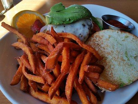 Avocado, Cheeseburger, Sweet Potato Fries, Tomato